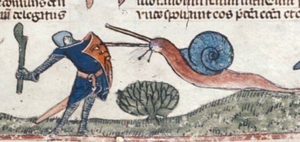 Un escargot attaque un chevalier