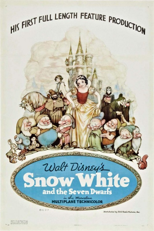 1937 Snow White Poster 534x800 Les affiches des 53  films Disney de 1937 à 2013  design cinema 2 art