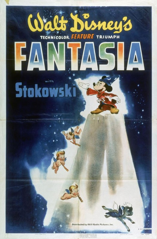 1940 Fantasia Poster 525x800 Les affiches des 53  films Disney de 1937 à 2013  design cinema 2 art