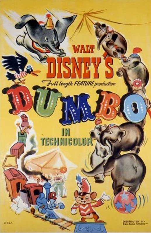 1941 Dumbo Poster 517x800 Les affiches des 53  films Disney de 1937 à 2013  design cinema 2 art