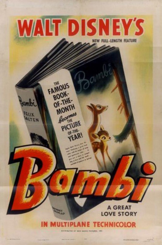 1942 Bambi Poster 532x800 Les affiches des 53  films Disney de 1937 à 2013  design cinema 2 art