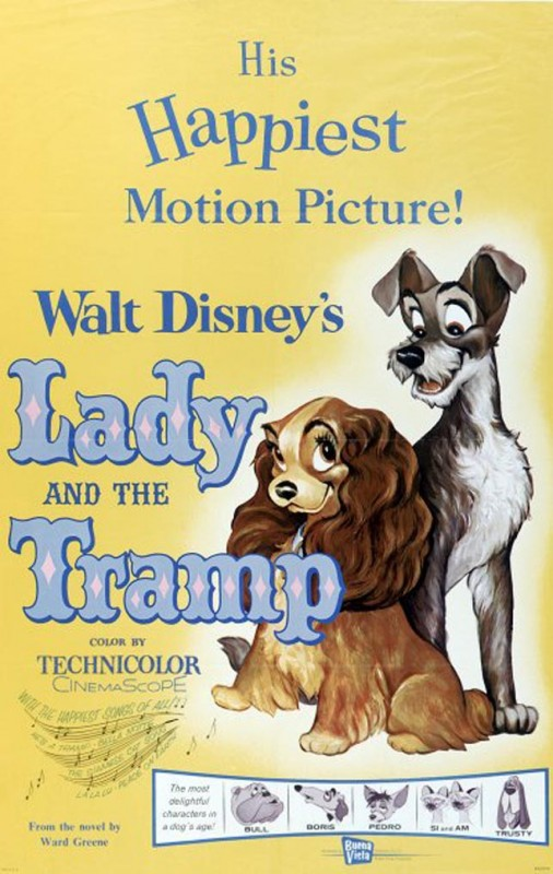 1955 Lady and the Tramp Poster 506x800 Les affiches des 53  films Disney de 1937 à 2013  design cinema 2 art