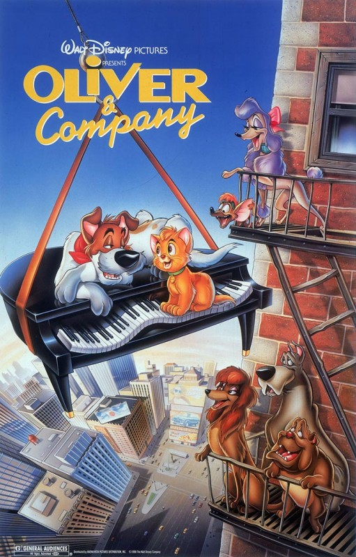 1988 Oliver and Company Poster 511x800 Les affiches des 53  films Disney de 1937 à 2013  design cinema 2 art