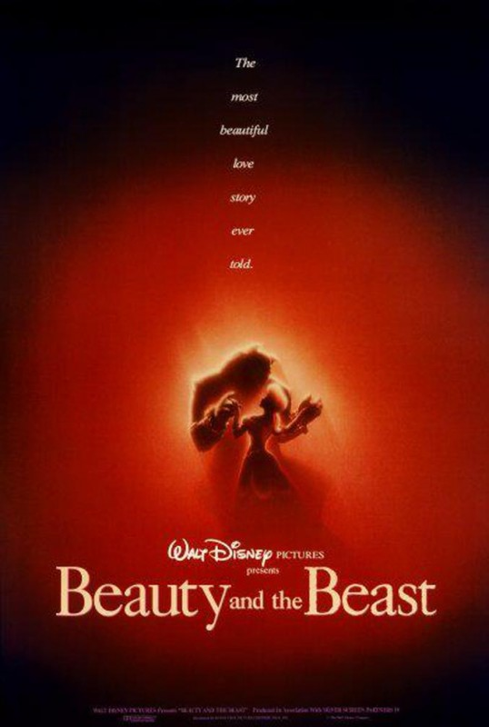 1991 Beauty and the Beast Poster 538x800 Les affiches des 53  films Disney de 1937 à 2013  design cinema 2 art
